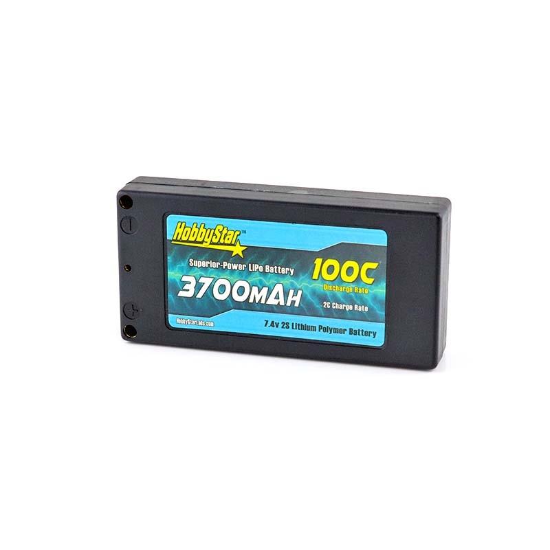 "HobbyStar 3700mAh 7.4V, 2S 100C Hardcase ""Shorty-Lite"" LiPo Battery"