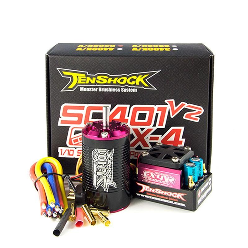 Tenshock SCEK4V2 1/10 Short Course Combo, WPEX4 V2 ESC + SC401V2 Motor