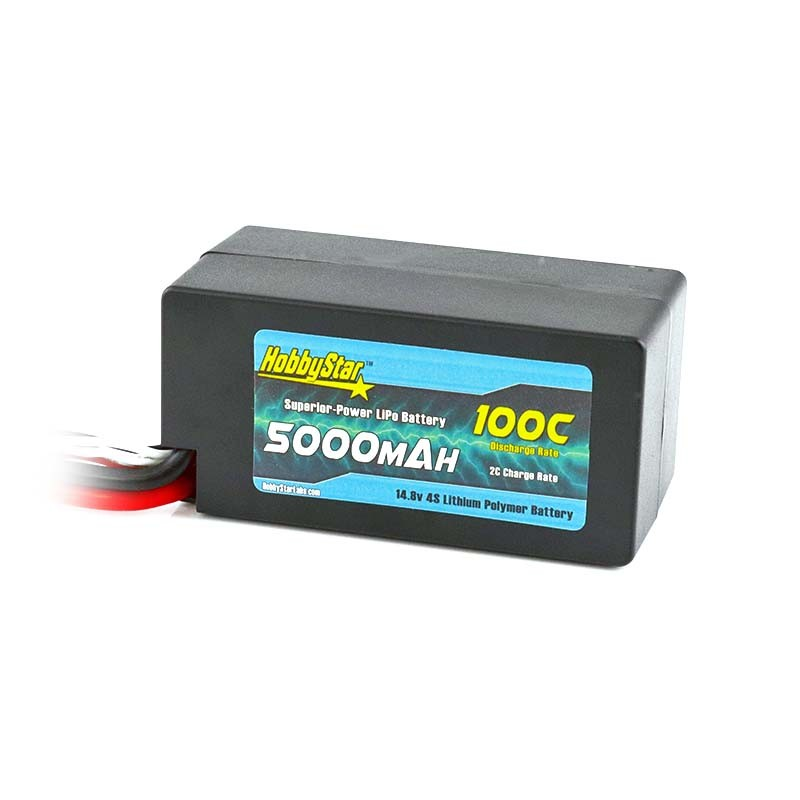 "HobbyStar 5000mAh 14.8V, 4S 100C Hardcase ""Shorty"" LiPo Battery"