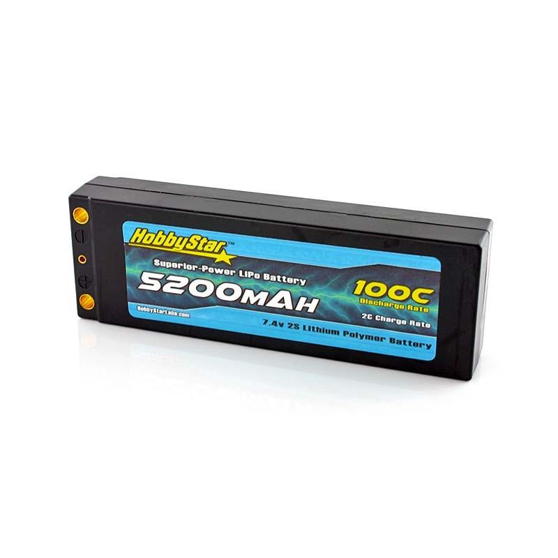 HobbyStar 5200mAh 7.4V, 2S 100C Hardcase LiPo Battery, Low IR - Terminal Style