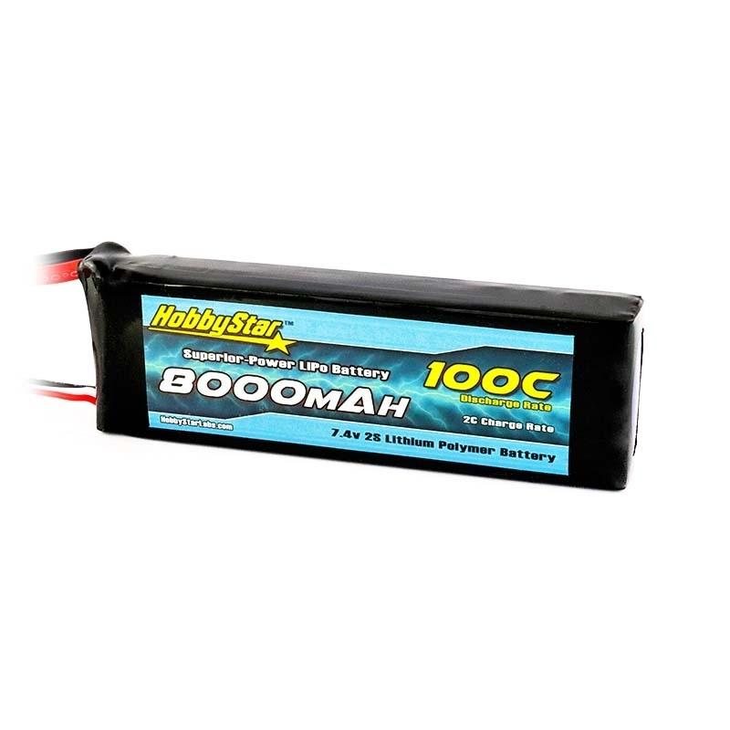 HobbyStar 8000mAh 7.4V, 2S 100C LiPo Battery