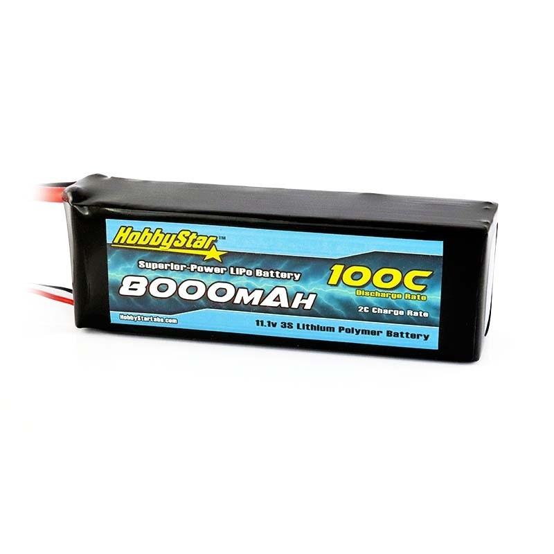 HobbyStar 8000mAh 11.1V, 3S 100C LiPo Battery