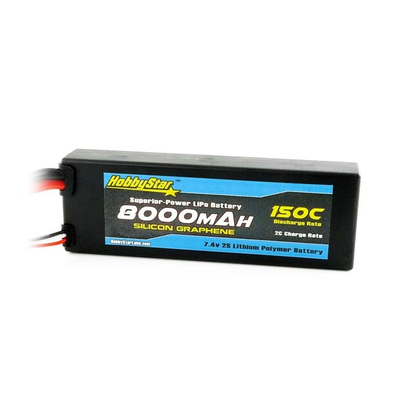 HobbyStar 8000mAh 7.4V, 2S 150C Silicone Graphene, Hardcase LiPo Battery