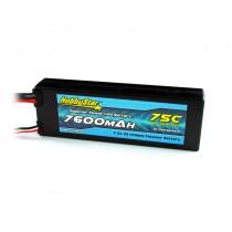 HobbyStar 7600mAh 7.4V, 2S 75C Hardcase LiPo Battery