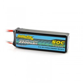 HobbyStar 2200mAh 11.1V, 3S 50C LiPo Battery